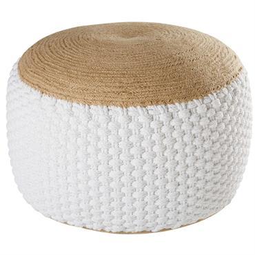 Pouf tressé en jute et coton blanc 30x60cm KNOT
