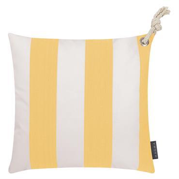 Housses de coussin rayées jaune/blanc avec corde- Lot de 2-40x40