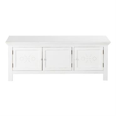 Meuble TV 3 portes motifs en relief blanc effet vieilli Bianca