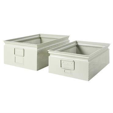 2 caisses en métal perforé gris clair