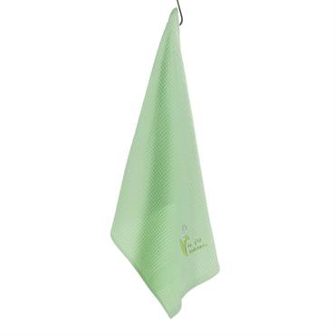 Le torchon Fétiche de couleur verte est composé à 100% de coton nid d'abeille pour un séchage optimal.