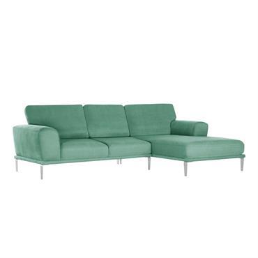 Canapé d'angle droit 5 places toucher coton mint