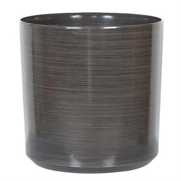Cache-pot marron rond 43 cm. Embellissez votre jardin et votre maison avec ce cache-pot rond élégant. Doté d'une surface lisse et brillante avec motif à rayures subtiles et en couleur ...