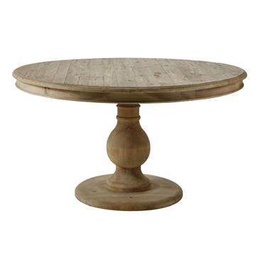 Table à manger ronde 6/7 personnes en pin recyclé D140 Spinoza
