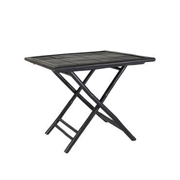 Table carrée pliante en bambou noir 90 cm