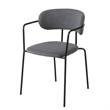 Chaise gris anthracite et métal noir mat Gimmy