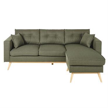 Canapé d'angle style scandinave 4/5 places vert kaki Brooke