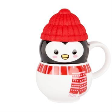 Mug pingouin en faïence noire
