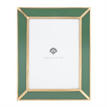 Cadre photo en verre vert et métal doré 13X18