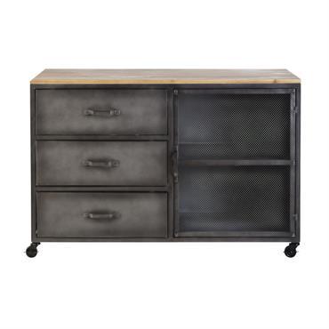 Votre ado va adorer le look indus du cabinet de rangement 3 tiroirs 1 porte en métal et sapin REBEL ! Très tendance grâce à l'alliance de son bois à ...