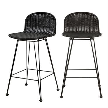 Chaise de bar mi-hauteur 63 cm en résine tressée noire