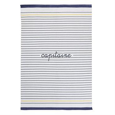 Tapis en coton écru motifs à rayures bleues 120x180