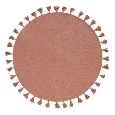 Tapis rond en coton tressé rose à pompons D100