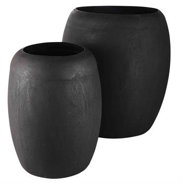 2 pots en métal noir vieilli MALIKA