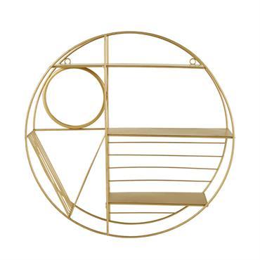Etagère ronde avec miroir en métal doré