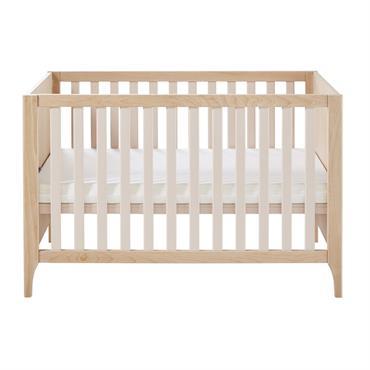 Lit bébé à barreaux 60x120 en hêtre blanchi et pin rose poudré Lou