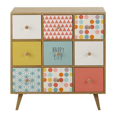 Cabinet de rangement 9 tiroirs multicolore