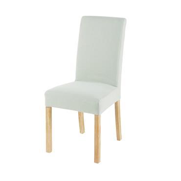 Housse de chaise en lin vert d'eau 41x70