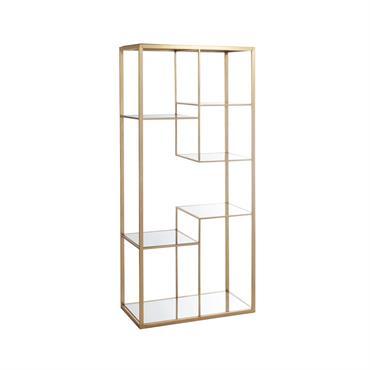 Etagère 5 plans métal doré et miroir - Or