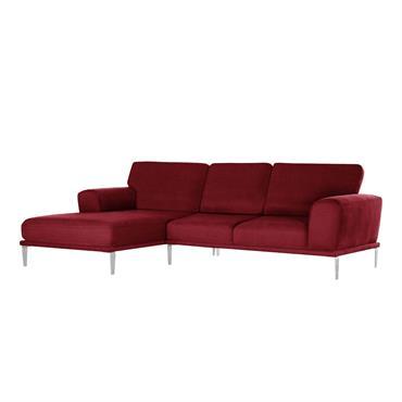 Canapé d'angle gauche 5 places toucher coton glamour rouge