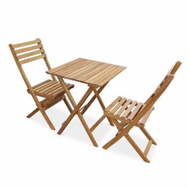 Table de jardin en bois carrée 2 places 60x60cm naturel