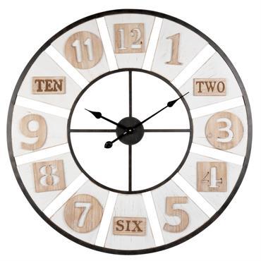 Horloge tricolore en métal ajouré D80
