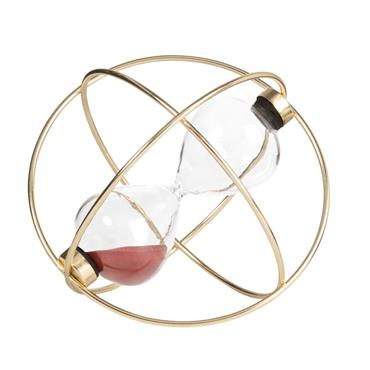 Sablier violet prune en verre sur base en métal doré