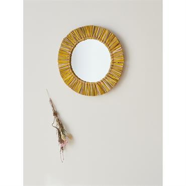 Miroir rond herbier bicolore jaune / naturel