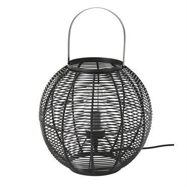 Lampe d'extérieur tressée imitation fibre végétale noire
