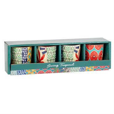 Coffret 4 mugs en faïence à motifs multicolores