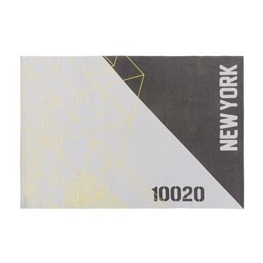 Tapis en coton gris et noir motifs graphiques 120x180