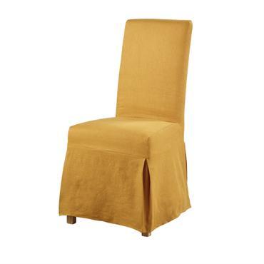 Housse de chaise longue en lin ocre