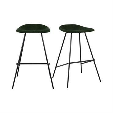Lot de 2 tabourets de bar velours côtelé Vert