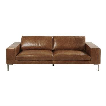 Canapé 4 places en cuir marron Gunther
