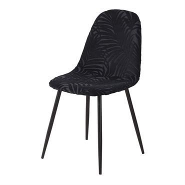 Chaise style scandinave en velours dévoré noir Clyde