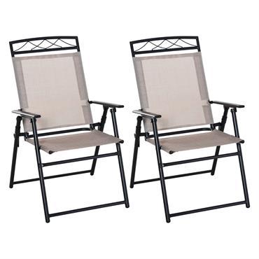 Lot de 2 chaises de jardin pliantes accoudoirs métal textilène beige