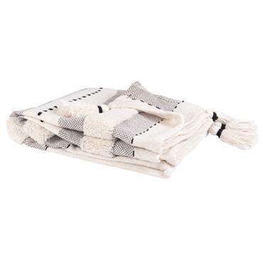 Plaid en coton écru motifs graphiques noirs et gris à franges 130x170