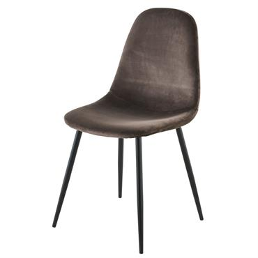 Chaise style scandinave en velours taupe Clyde