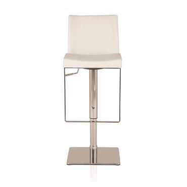 Chaise de bar blanche et pied en métal chromé Niero