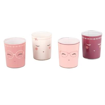4 lumignons parfumés en verre imprimé visage