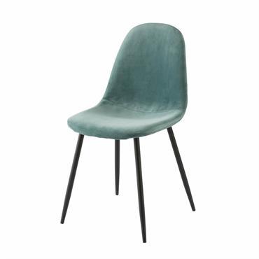 Minimaliste grâce à ses pieds obliques en métal noir et sophistiquée par son revêtement en velours synthétique, la chaise en velours turquoise CLYDE a tout bon ! Cette chaise aux ...