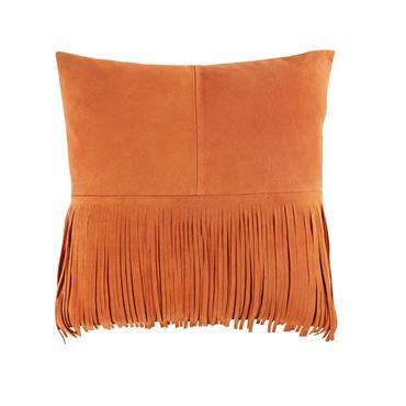 Coussin à franges en cuir orange 40x40