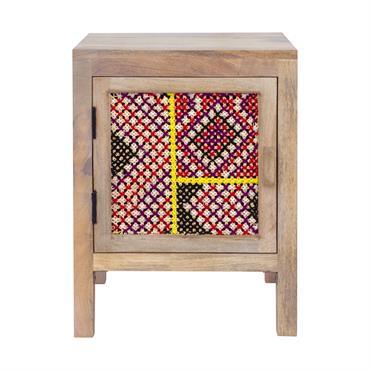 Table de chevet 1 porte en manguier et cannage coloré
