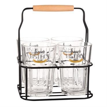 Support en métal noir avec 4 verres en verre imprimé