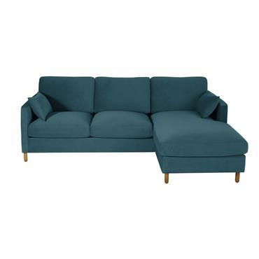 Canapé d'angle droit convertible 5 places en velours bleu paon
