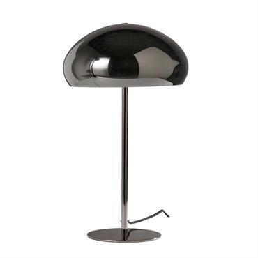 Lampe globe en métal fumé noir