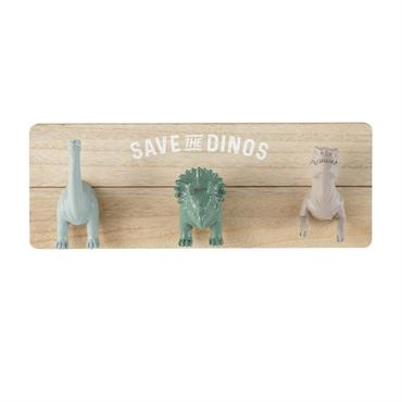 Patère 3 crochets dinosaures gris marron et verts