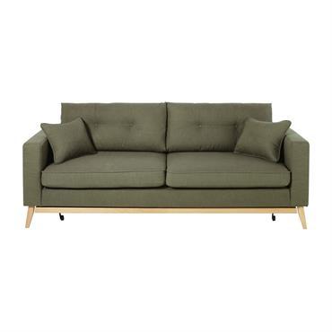 Canapé-lit style scandinave 3 places vert kaki Brooke