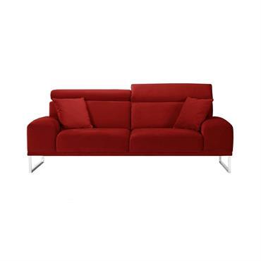 Canapé 3 places en velours rouge glamour