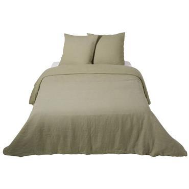 Parure de lit en lin lavé vert kaki 220x240